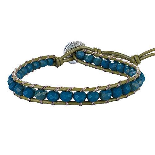 KELITCH Leather Wrap Bracelets Crystal Beaded Bracelets Women Strand Bracelets