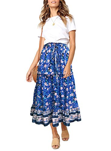 MEROKEETY Women's Boho Floral Print Elastic High Waist Pleated A Line Midi Skirt with Pockets