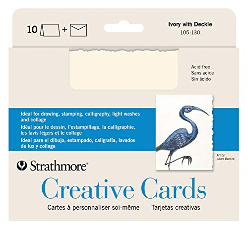 Strathmore 105-130-1 Creative Cards and Envelopes, 5' x 6.875', Ivory Deckle, 10 Pack