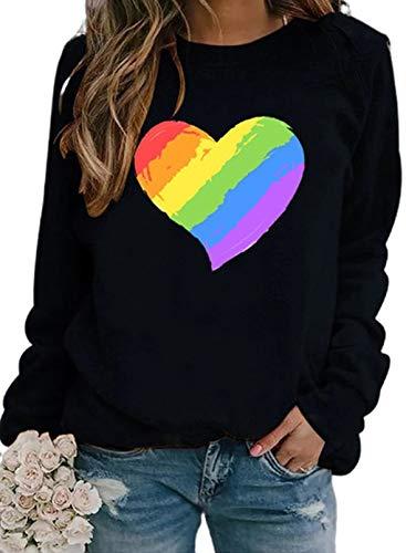 Sudaderas de manga larga con estampado de corazón con diseño de rayas arcoíris para mujer