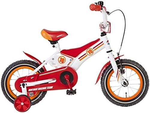 Kinderfürrad Jungen 12 Zoll Popal Vintage Team Racing mit Vorradbremse am Lenker und Rücktrittbremse, Stützr r Rot Weiß95% Zusammengebaut
