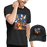 Thimd Camiseta de Manga Corta para Hombre,Gorra de béisbol Combinación Negro Stryper to Hell with The Devil T-Shirts and Washed Denim Baseball Dad Hat Black