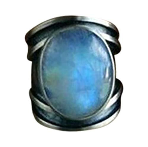 Goddesslili Rings for Women, Gorgeous Mystery Inlaid Moonstone Retro Epoxy Jewelry Vintage Retro Wedding Engagement Anniversary Luxury Gift