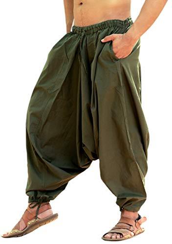 Sarjana Handicrafts - Pantalón bombacho hindú de algodón, pantalón harem, pantalón de yoga para hombre Marrón caqui Talla única