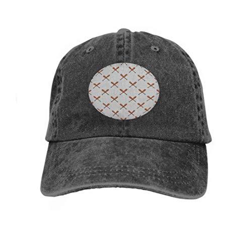 Erwachsene Kappe,Vintage Cap Hat Verstellbarer Baseballhut Für Unisex Natural Baseballschläger Muster Cartoon Baseballschläger Muster Web Baseba Schwarz