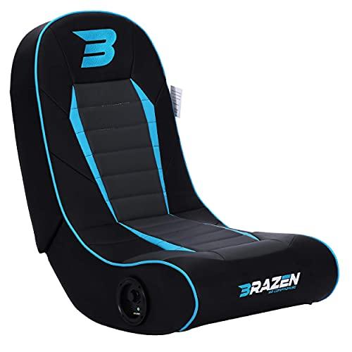 BraZen Sabre 2.0 Bluetooth Floor Rocker Gaming Chair with Speaker Foldable Children Chair - Blue