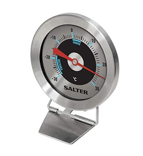 Salter Kühlschrank-Thermometer Analog - Gefrierschrank-Thermometer mit Temperaturbereich -30 bis 30°C - Analoges Thermometer rund aus modernem Edelstahl Gehäuse & Bimetall Sensor für exakte Ergebnisse