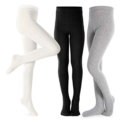 Girls Tights Toddler Cable Knit Cotton Footed Seamless Dance Ballet Baby Girls' Leggings 3 Pack Black/Ivory/Grey 5-6Y