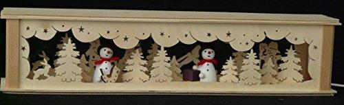 Schwibbbooghoogten verlicht met sneeuwpoppen (kleurig) B x H= 52x10cm NIEUW lichtboog vensterbank Ertsgebergte hout