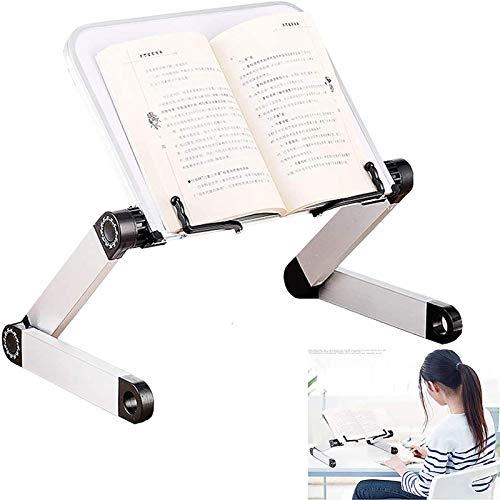 Soporte multifuncional para portátil con ajuste de altura y ángulo, soporte ergonómico para libro con clip de página para libros de texto grandes y pesados