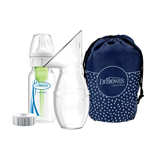 Dr. Brown's Bomba de silicone para coletor de leite materno com opções + garrafa anticólica e bolsa de viagem