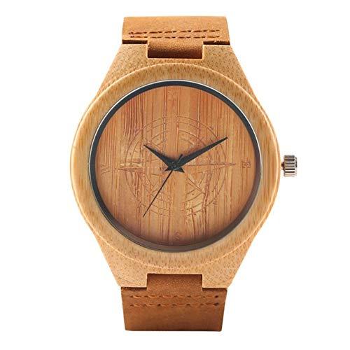 LOOIUEX Orologio in Legno Orologio Casual in Legno Dr. Who Ancient Magic Circle Dial Simple Uomo Donna Sport Bamboo Orologio da Polso TV Fans Clock, Rose