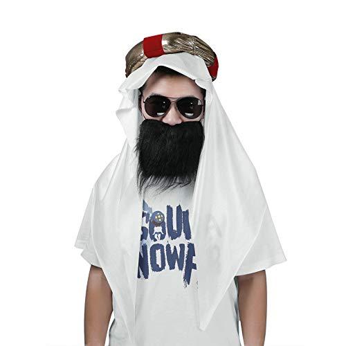 inlzdz Disfraz para Hombre Oriente Prximo Saud Emir Jeque rabe Conjunto con Tocado Bigote 3Pcs Blanco Talla nica