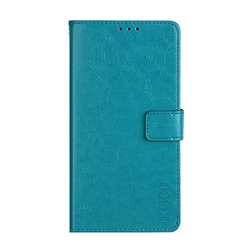 KISCO für Asus Zenfone 3 Deluxe ZS550KL Lederhülle,Leder Flip Wallet Magnetische [Kartensteckplätze][Standfunktion] mit Crazy Horse Textur Hülle für Asus Zenfone 3 Deluxe ZS550KL-Blau