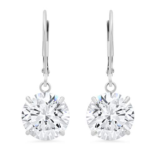 14k White Gold Leverback Earrings with Cubic Zirconia Dangles | 8 CT.TW. | Gift Boxed