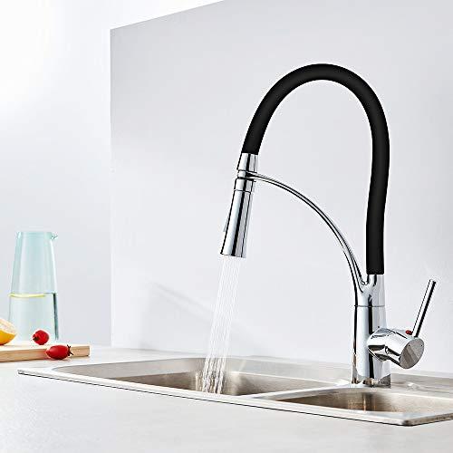 Auralum® Monomando Grifo de cocina Agua Fría Y Caliente Grifo de Cocina Extraible 360°rotación 3 Años de Garantía cartucho de cerámica Diseño único