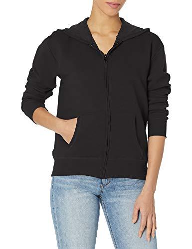 Hanes Women's EcoSmart Full-Zip Hoodie Sweatshirt, Ebony, Medium