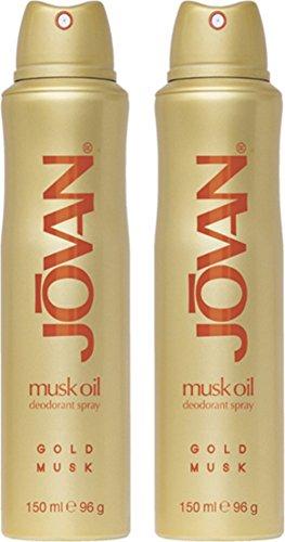 Jovan Gold Musk Deodorant Body Spray for woman, 2er Pack (2 x 150 ml)