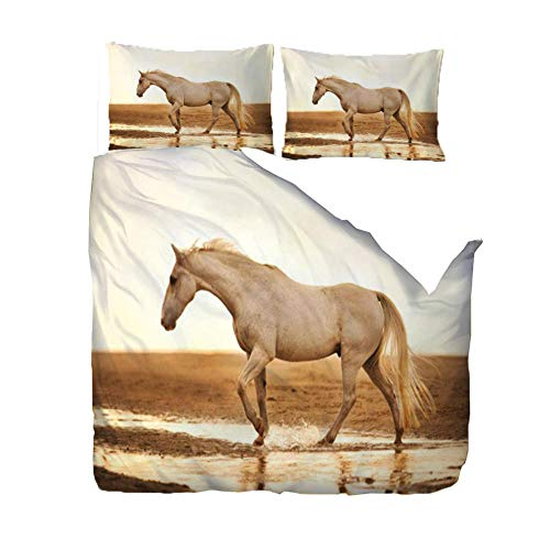 PANDAWDD Silky Soft Microfiber Duvet Cover Set Super King - 220x260cm Animal horse, 3 PCS with Pillow Case Bedding Set, Smooth Feeling with Zipper, Hypoallergenic & Breathable Quilt Cover Set
