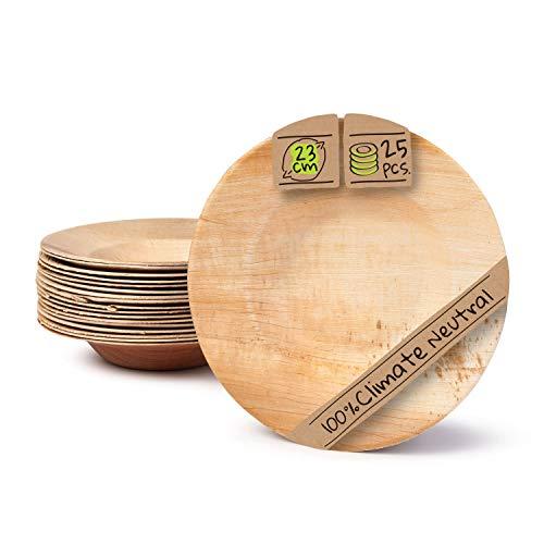 BIOZOYG Palmware - Hochwertige Einweg Suppenteller tief I rund 23cm 25 Stück Snackschale Palmblattgeschirr Pastateller Salatschale I kompostierbares Einweggeschirr biologisch abbaubar