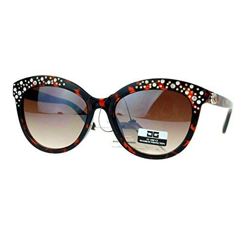 CG Eyewear Womens Sunglasses Classy Rhinestones Pearls Studded Dark Tort