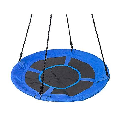 LHSUNTA Balançoire Ronde en Tissu Oxford Bleu pour Enfants, Chaise de balançoire de Cour extérieure, Chaise Suspendue Adulte intérieure