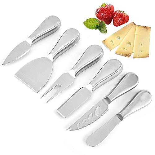 Linwnil - Juego de 6 cuchillos para queso, acero inoxidable, cortador de queso, tenedor ligero, diseño plateado