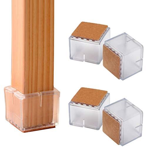 20 pcs Square Chair Leg Floor Protectors, Square Silicone Leg Caps with...