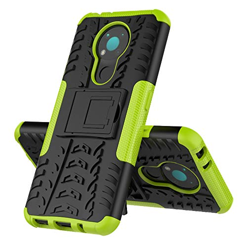 MingMing Rugged Armor Schutzhülle für Nokia 3.4 Hülle Handy Tasche Hybrid Hülle Schutz Handyhülle Panzer TPU Silikon Hard Cover Bumper für Nokia 3.4-Grün