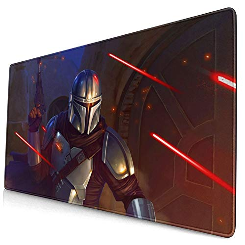 Star Mandaloria_n Wa_rs Mouse Pad Large Gaming Mouse Pads with Nonslip Base Portable Foldable Stitched Edges Desk Cover Computers Keyboard(15.8x29.5Inch)