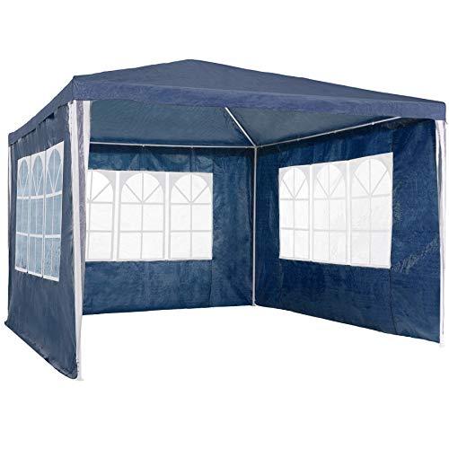 TecTake 800105 - Garten Pavillon 3x3 m inkl. 3 Seitenwänden, Minutenschnelle Montage, Platzsparende Lagerung - Diverse Farben (Blau | Nr. 400933)