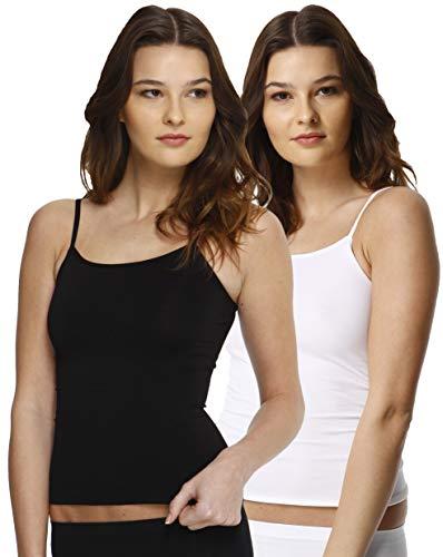 2er Pack Damen Mikrofaser Spaghetti Unterhemden, Seamless Trägertop in schwarz, weiss oder haut , Gr. Large