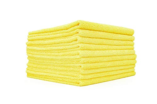 The Rag Company (10 Pack Edgeless 300 16 x 16 Microfiber Terry Towel, Yellow