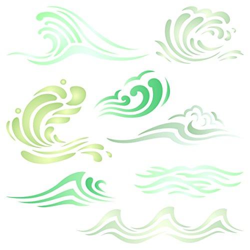 Wellen-Schablone – wiederverwendbare Schablone mit Ozean- / Meeres- / Wellen- / Wassereffekt – Verwendung auf Papierprojekten, Scrapbook, Tagebuch, Wänden, Böden, Stoff, Möbeln, Glas, Holz usw. L