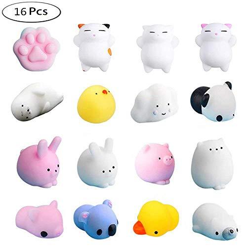 Yakiki Mini Squishies Set 16 Stück, Mini Animals Stress Relief Squeeze Spielzeug Super Kawaii Katze Squishy Toys Spielzeu