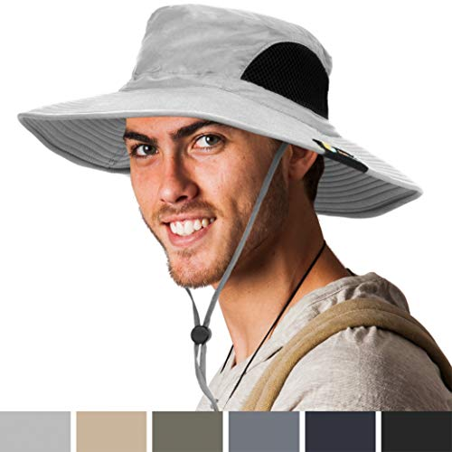 SUN CUBE Fishing Hat for Men, Women | Hiking Boonie Hat with Wide Brim, Adjustable Chin Strap | Safari Summer Bucket Sun Hat | UPF 50+ Protection | Packable Breathable Mesh (Light Gray)