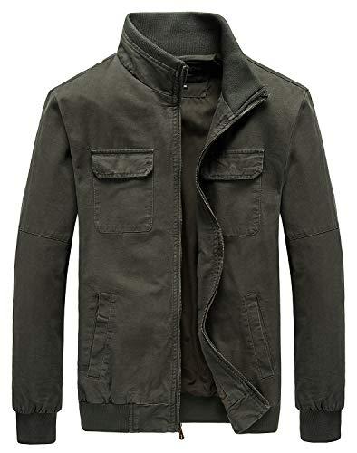Heihuohua Men's Casual Military Jacket Cotton Field Jacket (Large, 01-Army Green)