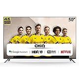 CHiQ Randloser Android UHD LED Fernseher 50 Zoll TV 4k Randlos Smart TV 126 cm Bilddiagonale (Version 2020, Ultra HD, Prime Video & Chromecast)