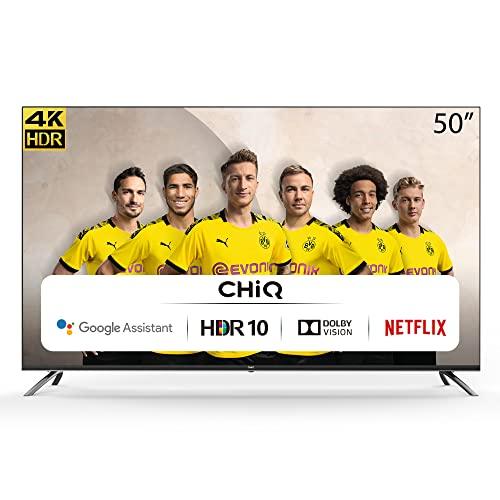 CHiQ Randloser Android UHD LED Fernseher 50 Zoll TV 4k Randlos Smart TV 126 cm Bilddiagonale (Version 2020, Ultra HD, Prime Video und Chromecast)