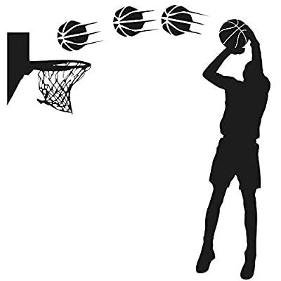Dnven DIY Vinyl Basketball Players Shot Silhouette with Basketballs and Basketry Wall Decals Stickers for Boy Rooms