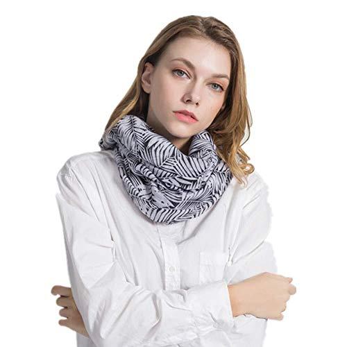 Unbekannt Exquisit und vielseitig Schal bequem und praktisch schwarzer und weißer Schal Frauen Brunnen Gras idyllisch romantischer Su Baumwollschal j0111