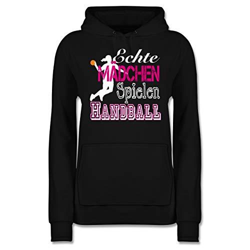 Handball - Echte Mädchen Spielen Handball weiß - S - Schwarz - JH001F - Damen Hoodie und Kapuzenpullover für Frauen