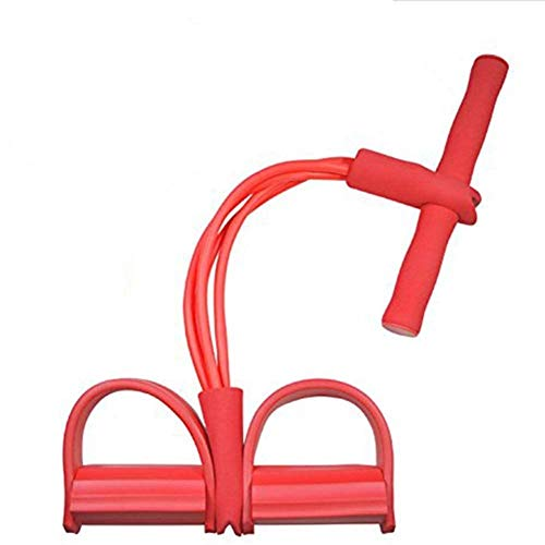 Fitness 4 Röhren Sit-up Pull Seilübungsgeräte Pedal-Widerstand-Band Elastische Spannseil for Home Gym Yoga Workout Multifunktions-Pedal Arm-Bein-Trainer Bauchmuskeltraining (Color : Red)