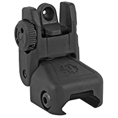 This lightweight polymer sight is windage-adjustable Folds flat to make room for optics Spring-loaded to allow for rapid deployment with the push of a button