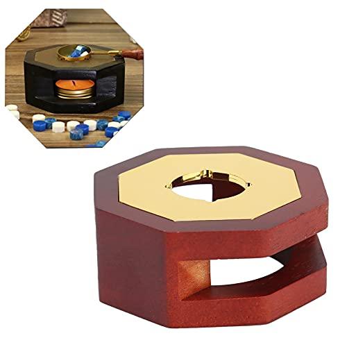 Calentador de sellos de cera, manos libres para hacer cera Diseño a prueba de viento con superficie lisa para invitaciones y sobres(Eight Sided Furnace (Dark Red))