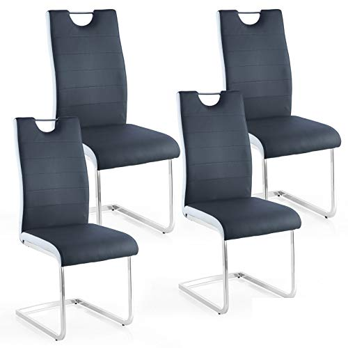 OKAKOPA Modern Dining Chairs Set of 4, Faux Leather Padded Dining Room Seat Black White Side Sturdy Chrome Chair Legs and Ergonomic Design for Dining Room,Kitchen, Living Room (Black- 4 PCS)