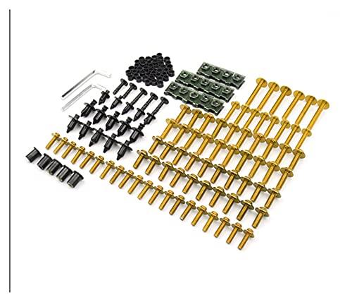 ZHUSHANG SHUANGX Juego De Pernos De Carenado Sujetadores De Tornillo Corporal Ajuste para Kawasaki ZX7R ZX9R ZX12R ZX-11 ZX-14 (Color : Golden)