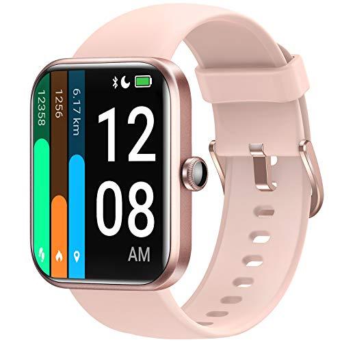 LETSCOM Smartwatch für Damen Herren, 1.69 Zoll Fitness Armbanduhr mit Schrittzähler, Pulsuhr und Blutsauerstoffsättigung, 5ATM wasserdichte Sportuhr Smart Watch mit Alexa-Integration rosa