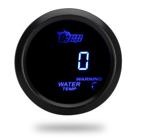 KKmoon Digital - Medidor de temperatura del agua con sensor automático para el coche de 52 mm con pantalla LCD de dos pulgadas (5,08 cm), 40~120 grados Celsius y luz de advertencia, de color negro