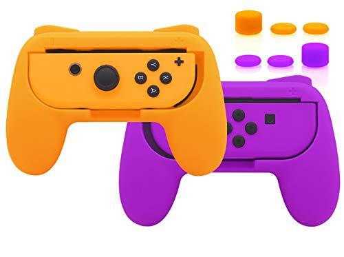 FYOUNG Verbesserte Griffen für Nintendo Switch Joy Con Controller, Komfortable Grip Hülle für Mario Kart mit 6 Daumengriffkappen 2er-Pack - Orange/Lila